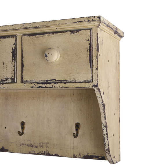 Distressed Wooden Shelf with Drawers and Hooks - SKU #7019 - 1