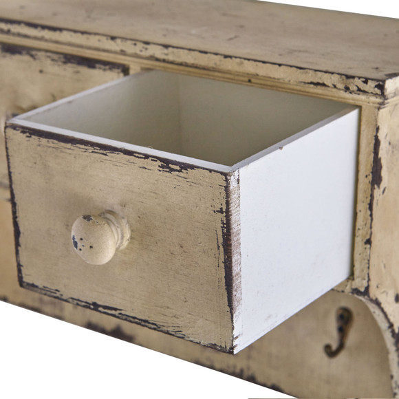 Distressed Wooden Shelf with Drawers and Hooks - SKU #7019 - 2
