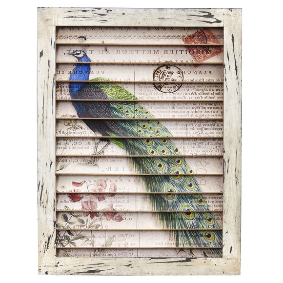 Peacock Window Shutter Wall Dcor - SKU #7022