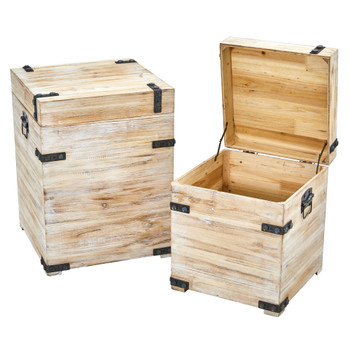 Decorative White Wash Storage Boxes-Trunks with Metal Detail Set of 2 - SKU #7028-S2