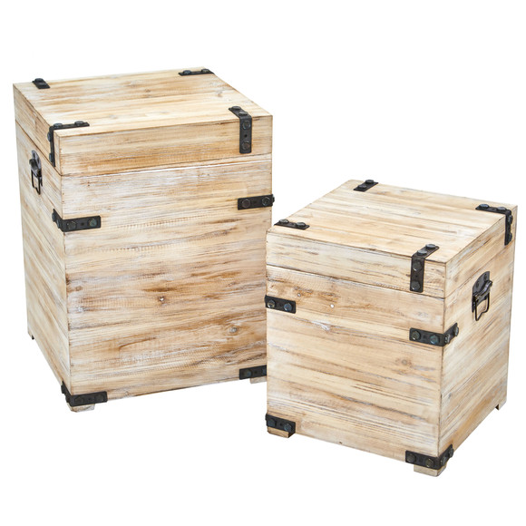 Decorative White Wash Storage Boxes-Trunks with Metal Detail Set of 2 - SKU #7028-S2 - 1