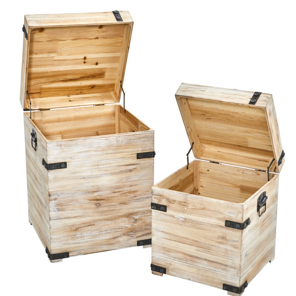 Decorative White Wash Storage Boxes-Trunks with Metal Detail Set of 2 - SKU #7028-S2 - 2
