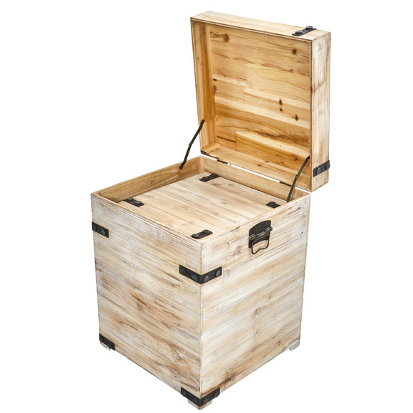 Decorative White Wash Storage Boxes-Trunks with Metal Detail Set of 2 - SKU #7028-S2 - 3
