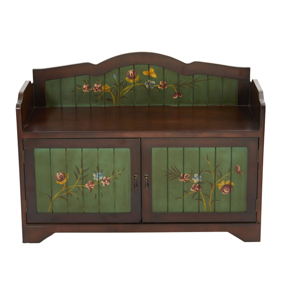 36 Antique Floral Art Bench with Drawers - SKU #7031
