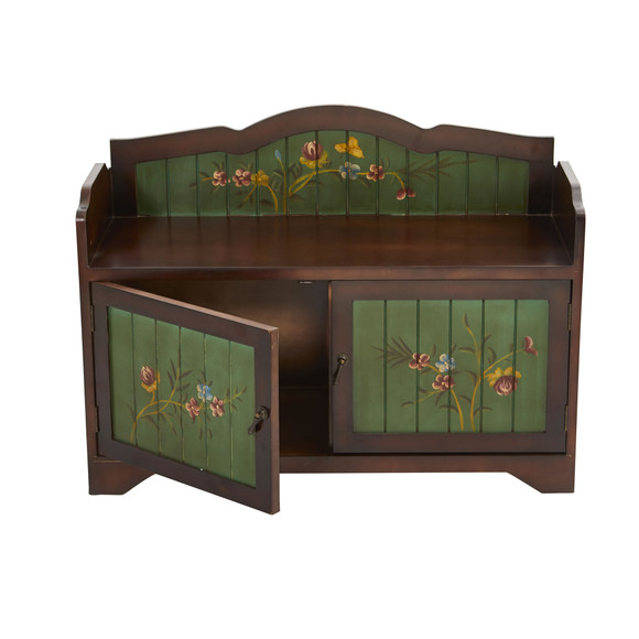 36 Antique Floral Art Bench with Drawers - SKU #7031 - 1