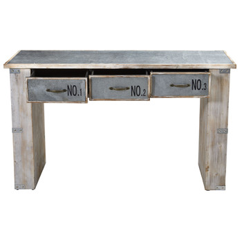 32 Industrial White Wash Wood and Metal Desk - SKU #7032