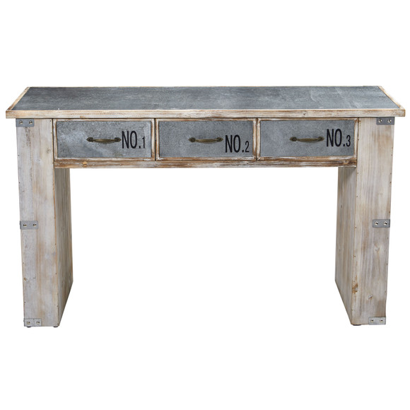 32 Industrial White Wash Wood and Metal Desk - SKU #7032 - 1