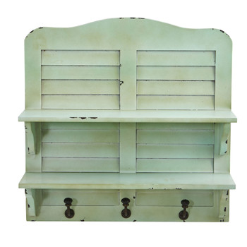 20 Vintage Window Shutter Shelving with Hooks Wall Decor - SKU #7034