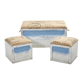 Ocean Breeze Storage Boxes Bench and Seating Set Set of 3 - SKU #7036-S3