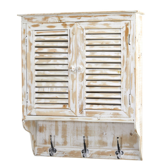 32 White Washed Wall Cabinet with Hooks - SKU #7049