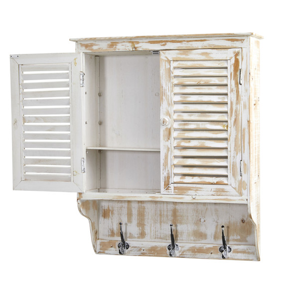 32 White Washed Wall Cabinet with Hooks - SKU #7049 - 1