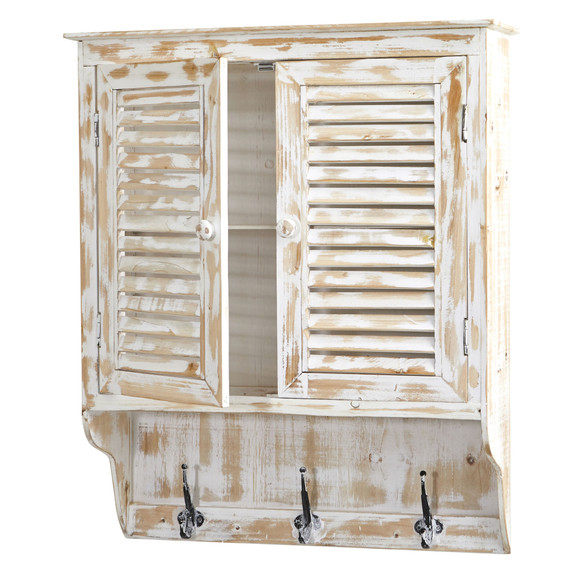 32 White Washed Wall Cabinet with Hooks - SKU #7049 - 2