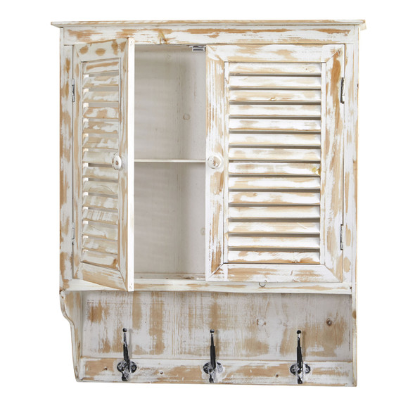 32 White Washed Wall Cabinet with Hooks - SKU #7049 - 3