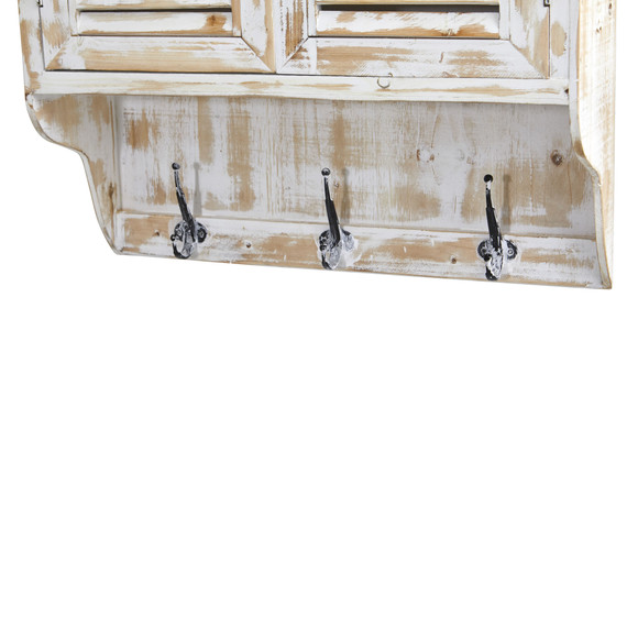 32 White Washed Wall Cabinet with Hooks - SKU #7049 - 4