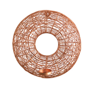 11 Wired Copper Circle Wall Sconce Candle Holder - SKU #7055