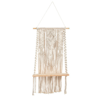 2.5 x 1.5 Hand Crafted Woven Macrame Wall Hanging with Wooden Shelf - SKU #7116