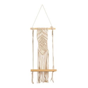 22 Boho Chic Wood Macrame Shelf with Diamond Weave - SKU #7129
