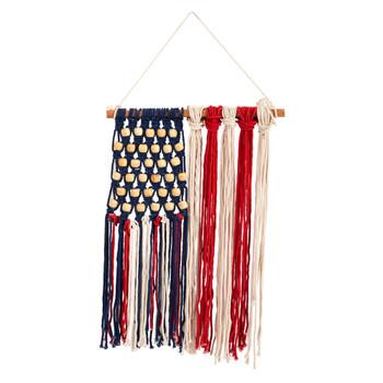 14 x 18 Handmade American Flag Americana Macrame Wall Hanging Art Decor - SKU #7132