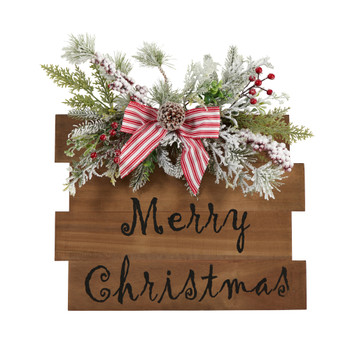 20 Holiday Merry Christmas Door Wall Hanger with Pine and Berries Stripped Bow Wall Art Dcor - SKU #7147
