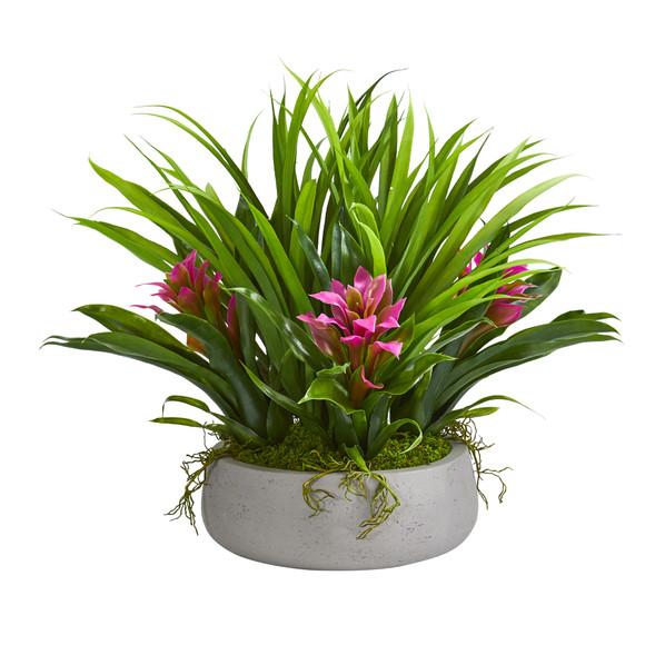 16 Bromeliad Grass Artificial Plant in Ceramic Vase - SKU #8050 - 1