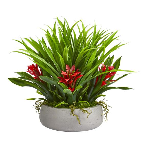 16 Bromeliad Grass Artificial Plant in Ceramic Vase - SKU #8050