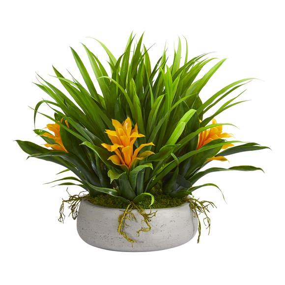 16 Bromeliad Grass Artificial Plant in Ceramic Vase - SKU #8050 - 2
