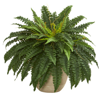22 Boston Fern Artificial Plant in Sandstone Planter - SKU #8052