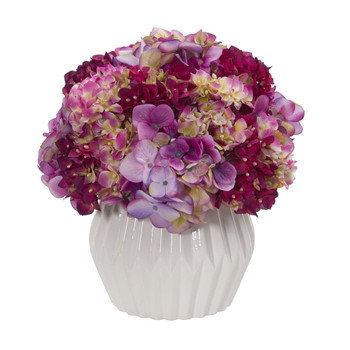 12 Hydrangea Artificial Plant in White Vase - SKU #8054-BU