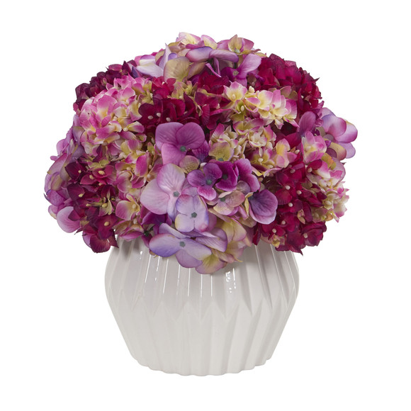12 Hydrangea Artificial Plant in White Vase - SKU #8054