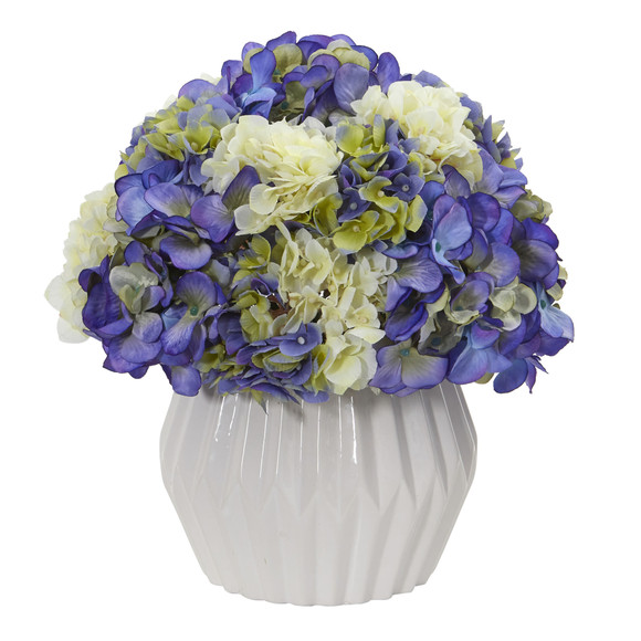 12 Hydrangea Artificial Plant in White Vase - SKU #8054 - 1