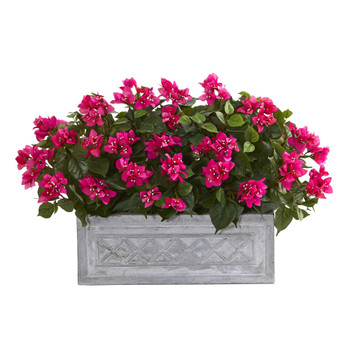 30 Bougainvillea Artificial Plant in Stone Planter - SKU #8058