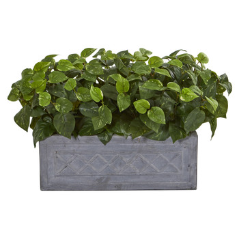 Pothos Artificial Plant in Stone Planter - SKU #8060