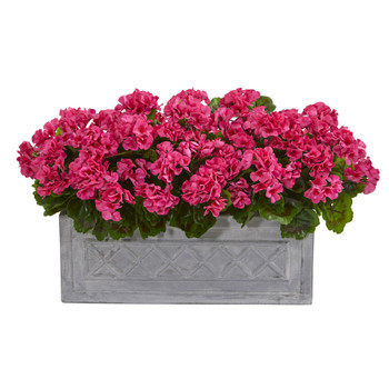 18 Geranium Artificial Plant in Stone Planter UV Resistant Indoor/Outdoor - SKU #8061-BU