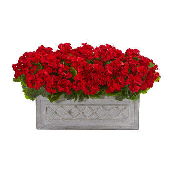 18 Geranium Artificial Plant in Stone Planter UV Resistant Indoor/Outdoor - SKU #8061