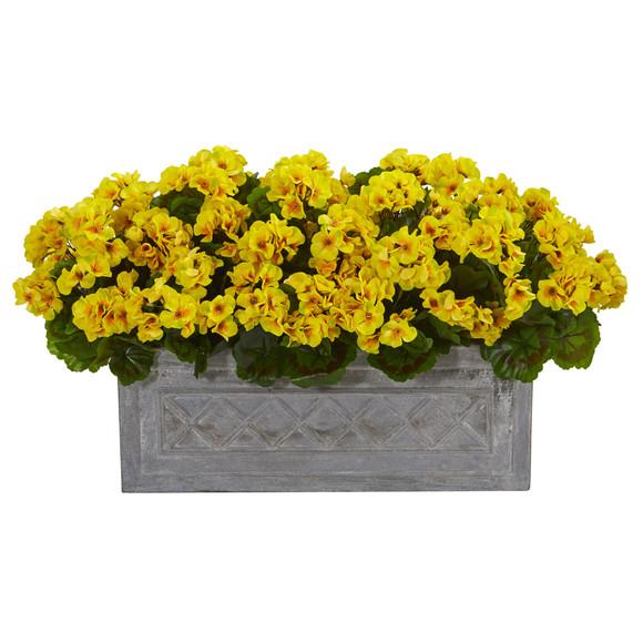 18 Geranium Artificial Plant in Stone Planter UV Resistant Indoor/Outdoor - SKU #8061 - 2