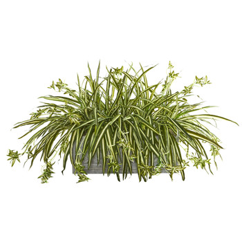Spider Plant Artificial Plant in Stone Planter - SKU #8062