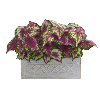 17 Wax Begonia Artificial Plant in Stone Planter - SKU #8063