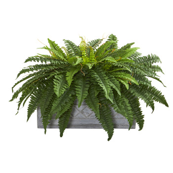 Boston Fern Artificial Plant in Stone Planter - SKU #8064