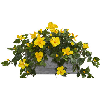 Hibiscus Artificial Plant in Stone Planter - SKU #8065