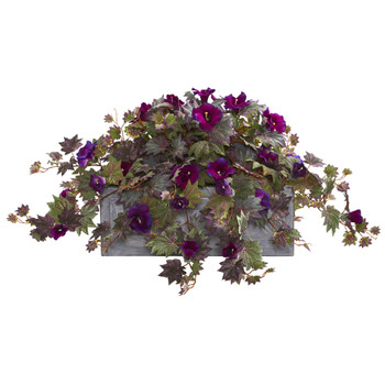Morning Glory Artificial Plant in Stone Planter - SKU #8066