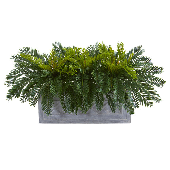 Cycas Aritificial Plant in Stone Planter - SKU #8067