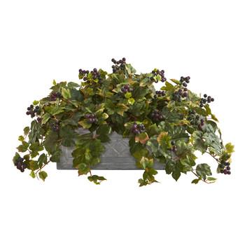 Grape Leaf Artificial Plant in Stone Planter - SKU #8068