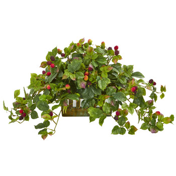 Deluxe Raspberry Artificial Plant in Decorative Planter - SKU #8069