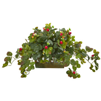 Strawberry Artificial Plant in Decorative Planter - SKU #8070