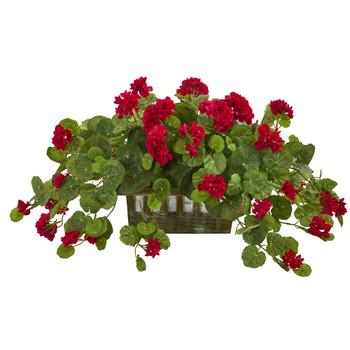 Geranium Artificial Plant in Decorative Planter - SKU #8071