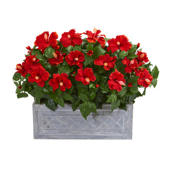 Hibiscus Artificial Plant in Stone Planter - SKU #8073