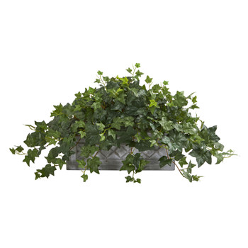 Puff Ivy Artificial Plant in Stone Planter - SKU #8074