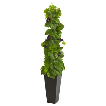 Grape Leaf Artificial Plant in Black Planter - SKU #8075