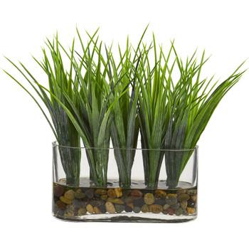 Vanilla Grass Artificial Plant in Oval Vase - SKU #8076