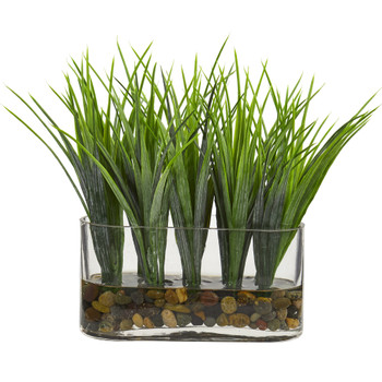 Vanilla Grass Artificial Plant in Oval Vase - SKU #8076